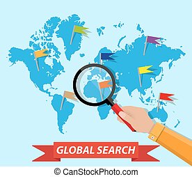 Global search, world map, hand, magnifying glass