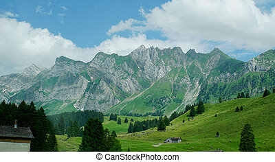 Landscape in the mountains - Mountain world in Switzerland,...