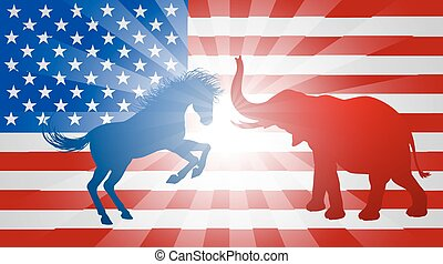 Jackass Donkey Fighting Elephant Election Concept - A donkey...