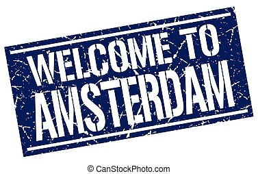 welcome to Amsterdam stamp