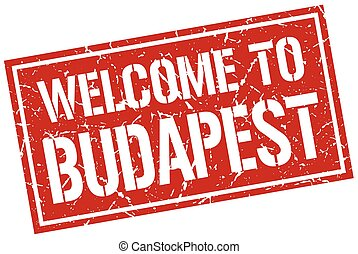 welcome to Budapest stamp