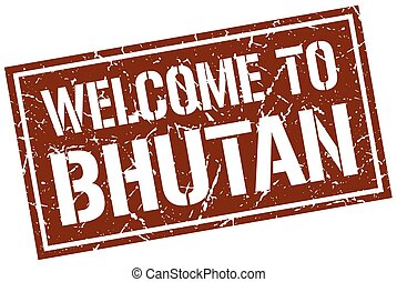 welcome to Bhutan stamp