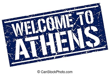 welcome to Athens stamp