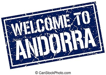welcome to Andorra stamp