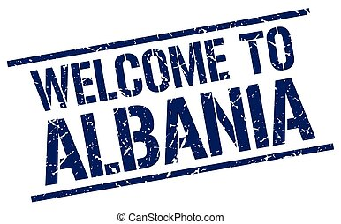 welcome to Albania stamp