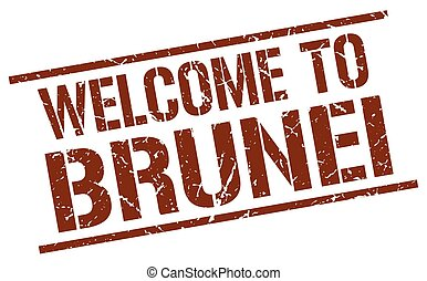 welcome to Brunei stamp