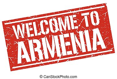 welcome to Armenia stamp