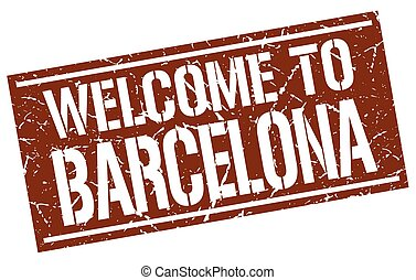welcome to Barcelona stamp