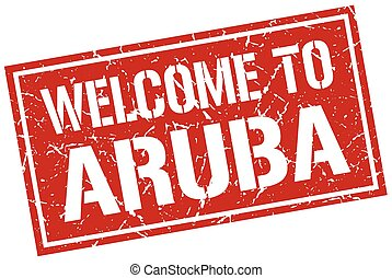 welcome to Aruba stamp