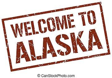 welcome to Alaska stamp