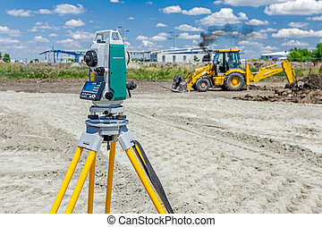 Geodesist device, is working with total station on a...