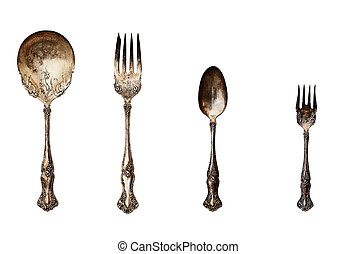 Vintage set of tarnished silverware - Vintage tarnished...