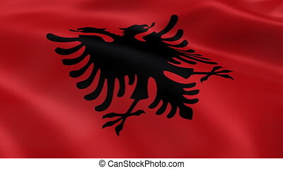 Albanian flag in the wind. Part of a series.