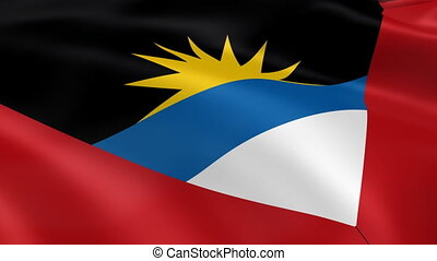 Antiguan and Barbudan flag in the w