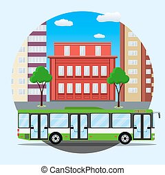 green city busin front of houses