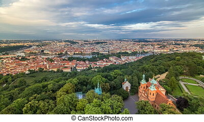 Wonderful timelapse View To The City Of Prague From Petrin...
