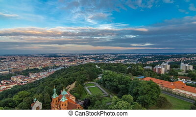 Wonderful timelapse View To The City Of Prague From Petrin Observation Tower In Czech Republic