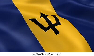 Barbadian flag in the wind. Part of a series.
