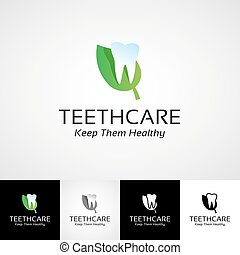 Creative dental logo template Teethcare icon set dentist...