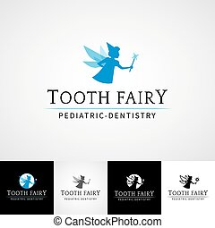 Tooth fairy dental logo template. Teethcare icon set. dentist clinic insignia, orthodontist illustration, teeth vector icon design, oral hygienist concept for stationary, tooth branding t-shirts picture