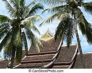Temple roof with palms - Beautiful tiled temple rooftop with...