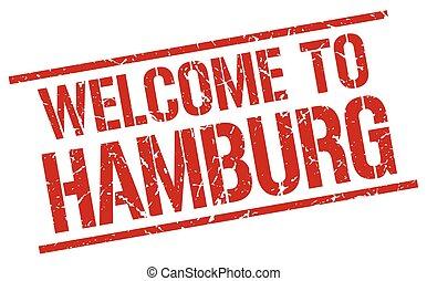 welcome to Hamburg stamp