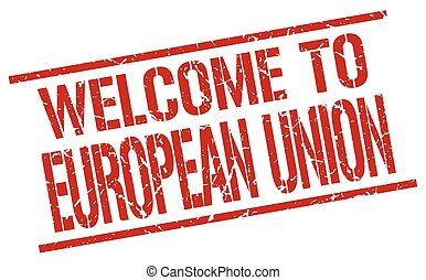 welcome to european union stamp