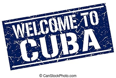 welcome to Cuba stamp
