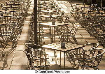Cafe Tables, Parc de la Mar Park, Palma de Mallorca, Spain