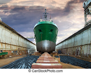 Graving dock - The ship in dry dock during the overhaul,...