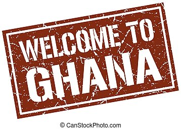 welcome to Ghana stamp