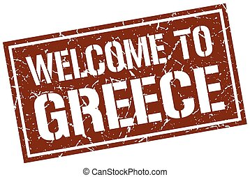 welcome to Greece stamp