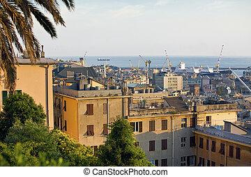 old Genoa city port view