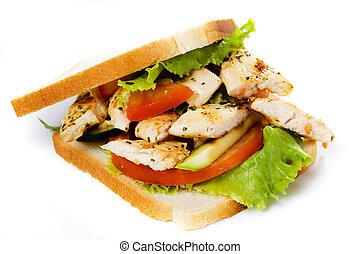 Chicken sandwich isolated on white