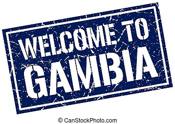 welcome to Gambia stamp