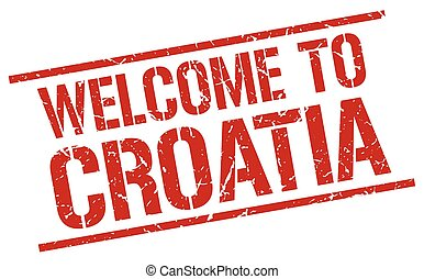 welcome to Croatia stamp