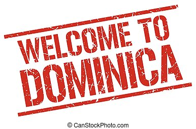 welcome to Dominica stamp