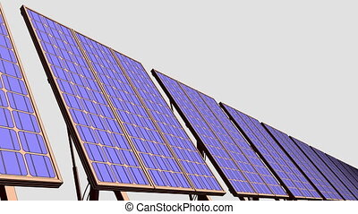Row of solar panels, cartoon version for presentations and...