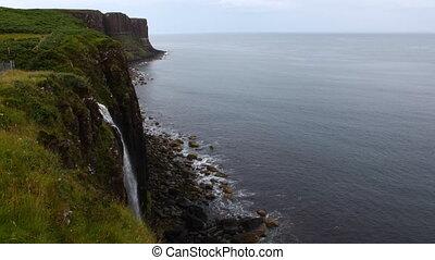 Waterfall into sea, Isle of Skye, Scotland - A Waterfall...