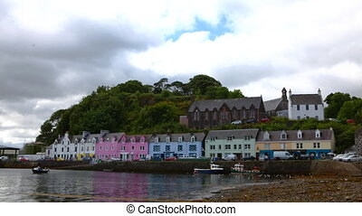 Timelapse, colorful buildings in Portree, Isle of Skye,...