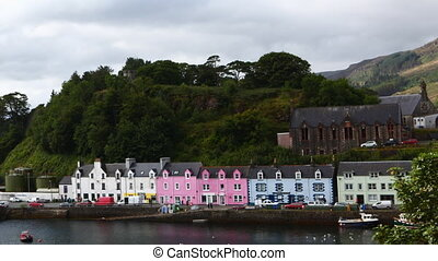 Timelapse of colorful buildings in Portree, Skye, Scotland -...