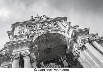 Rue Augusta arch in Commerce in Lisbon - Rue Augusta arch in...