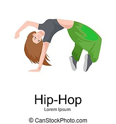 Teenager girl dancing hip hop style isolated vector...