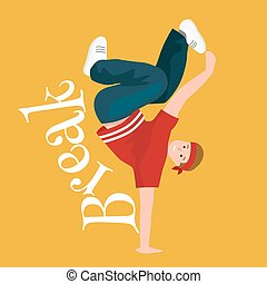 Teenager boy dancing hip hop style isolated vector...