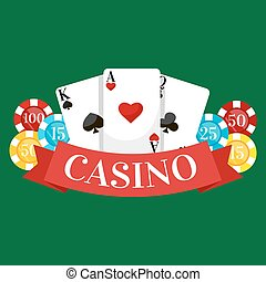 Playing Poker Cards Vector illustration, win gambling casino icon, risk and play poker, isolated cards deck