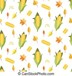 Corn seamless pattern vector illustration Maize ear or cob...