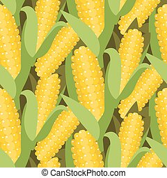 Corn seamless pattern vector illustration. Maize ear or cob....