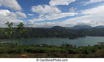 view to lake or river from land hills - travel, tourism,...