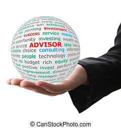 Hand take white ball with red inscription Advisor - Advisor...
