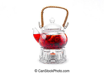 tea made from red berries in glass